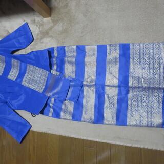 【値下げ】タイシルク アジア ドレス 民族衣装風 ブルー 【美品...