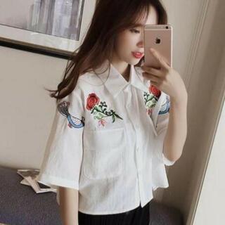 花柄刺繍 シャツ