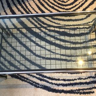 ガラス テーブル ローテーブル ラック付