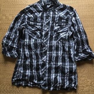 085 黒チェックシャツ