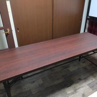 長机 テーブル 折りたたみ机 180×60×70 焦げ茶色中古品