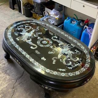 螺鈿 貝 楕円 テーブル 座卓 豪華絢爛 ガラス天板 昔はかなり...