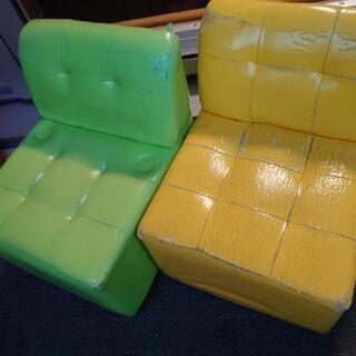 双子年子子供キッズソファー椅子2個セット