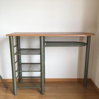 カウンターテーブル 折り畳みイス2脚付き - 伊予郡