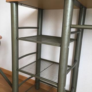 カウンターテーブル 折り畳みイス2脚付き - 家具