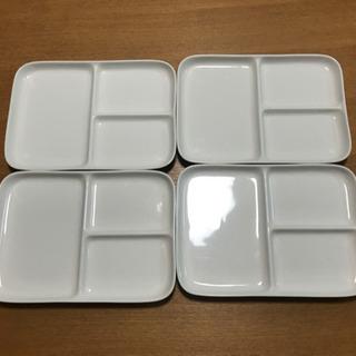 【無印良品】磁器ベージュ角皿・仕切付 ワンプレート 4枚セット
