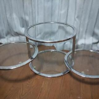 4段ラウンドガラステーブル、丸テーブル