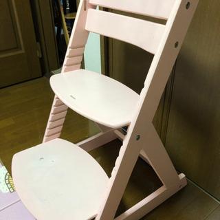 【差し上げます】木製ベビーチェア キッズチェア ピンク