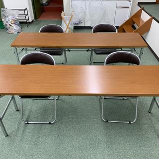 「美品」会議用折りたたみテーブル2台パイプ椅子4脚