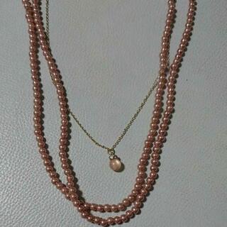 ピンクのパール 三連ネックレス 新品