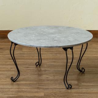 ローテーブル コーヒーテーブル 大理石調 折畳み 猫脚