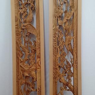 長野市三輪/善光寺下駅 欄間(らんま) 一対 和室 彫刻 細密木...