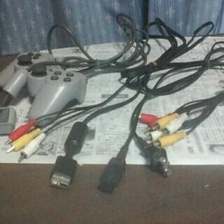 プレステ1専用コントローラー、D端子ケーブル、電源ケーブル、RC...