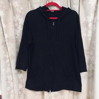 GU ジーユー  パーカー フーディー ブラック (七分袖) Mサイズ