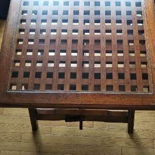 木製 ガラステーブル
