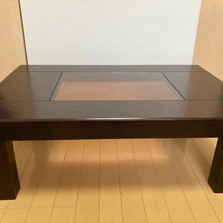 【ローテーブル】ガラス天板付きローテーブル〜落ち着いた雰囲気〜