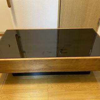 ガラストップテーブル(引き出し付)