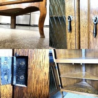 札幌近郊 送料無料 アンティーク コーナーボード キャビネット 古家具 - 売ります・あげます