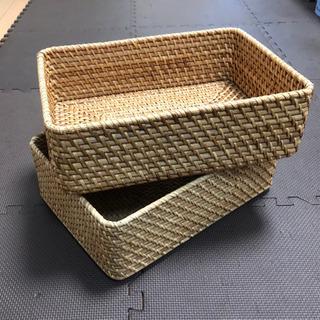MUJI 無印良品 大きくて重なるラタン長方形バスケット2個セット☆