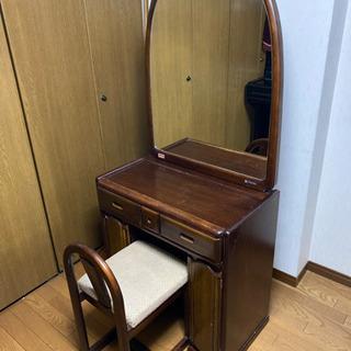 大塚家具 アンティーク ドレッサー 鏡取り外し可能 椅子付き