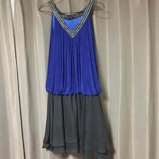 美品 ドレス 青 黒 パーティ