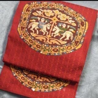 👘  正絹 洒落 袋帯 六通 ★ 面白味のある織柄