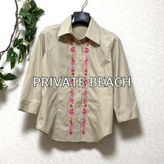 シャツ 5部袖 刺繍 プライベートビーチ