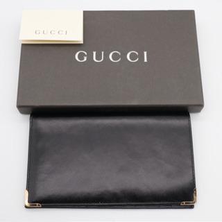 《GUCCI/金フチカーフレザー  二つ折り長財布》Aランク 箱...