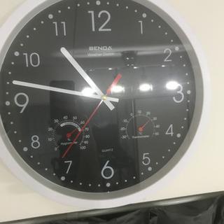 音がしない壁掛け時計 温度計 湿度計付き