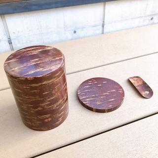 【未使用】桜革工芸の茶筒、土瓶敷き、茶さじのセット