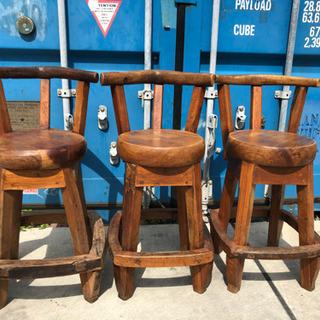 アンティーク 無垢材 職人手作り チェア 3脚セット 椅子 リビング