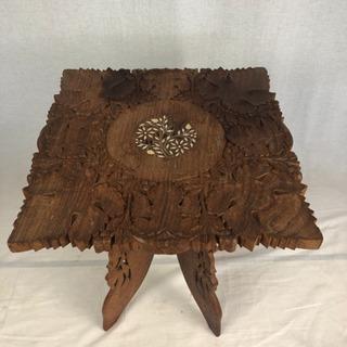 飾り台 サイドテーブル コンパクト 細工 手彫り