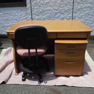 JM7230)勉強机 椅子×ワゴン付き ナチュラル×ピンク 中古...