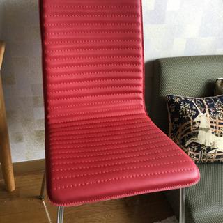 レザー調ダイニングチェア☆赤色1脚