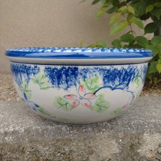 【特大サイズ】新品未使用 スイレン鉢 睡蓮鉢 陶器製鉢 水連鉢 花柄