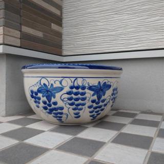【特大サイズ】新品未使用 スイレン鉢 睡蓮鉢 陶器製鉢 水連鉢 葡萄柄