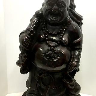 布袋様 木彫り 縁起物 置物 七福神 木製 彫刻 オブジェ ご利益