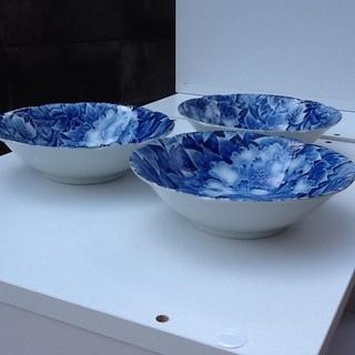 ※1枚100円【3枚あり】未使用品の素敵な和食器 小皿 小鉢 花柄 紺藍色 印もあり  - 京都市