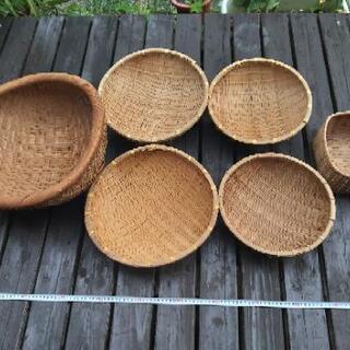 [配送無料][即日配送も可能?]竹製品 ざる 籠 大小6個セット