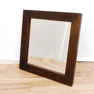 2541 鏡 ミラー 木製フレーム ナチュラル 45×45cm ...