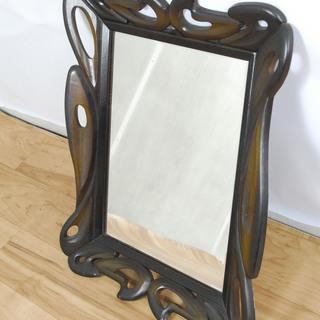 2543 鏡 ミラー 木製フレーム 木彫り アジアン 壁掛け ウ...