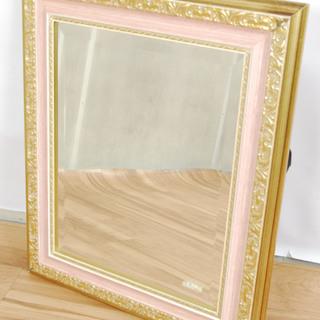 2545 イタリア製 アンティーク 鏡 木製フレーム 壁掛け ウ...