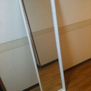 スタンドミラーホワイト木枠 150×40