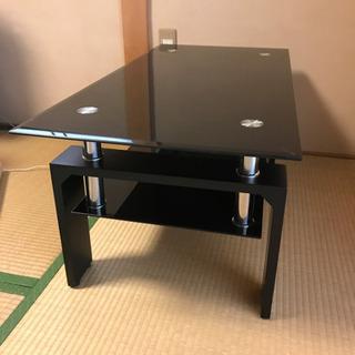 おしゃれなリビングテーブル ガラス天板 2段式 ブラック - 京都市