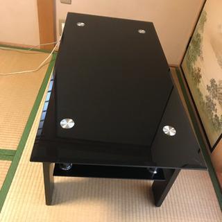 おしゃれなリビングテーブル ガラス天板 2段式 ブラック - 家具