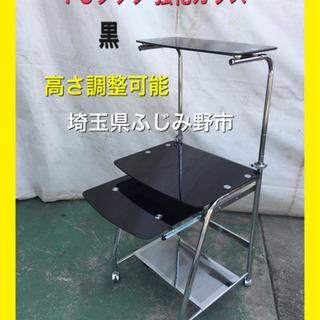 PCラック パソコンデスク 強化ガラス 黒 机 テーブル