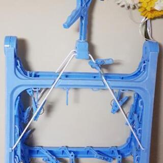 急募🔊洗濯バサミ付き ブルー 洗濯物干し