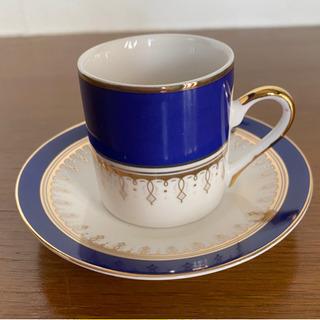 深いブルーのデミカップ&ソーサー 1客