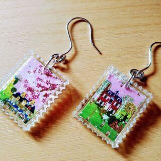 【100円】切手モチーフ☆ピアス