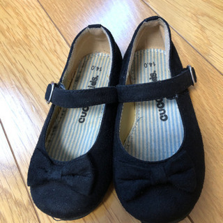フォーマル靴 黒いリボン14センチ